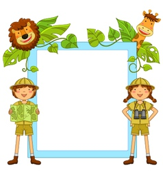 Kids in jungle vector