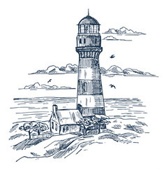 Lighthouse sketch on seashore with house vector