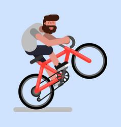 man rides a bicycle vector image