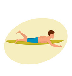 man swims on surfboard rowing his hands lying on vector image