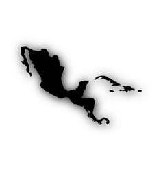 map of central america and the carrbean with vector image