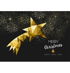 Merry christmas happy new year gold star triangle vector
