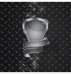 Metal shield and banner on metallic plate vector