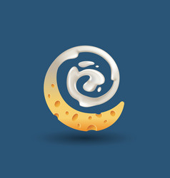 milk and cheese swirling logo vector image