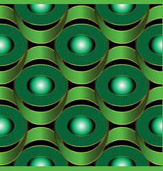 modern geometric green 3d greek seamless pattern vector image