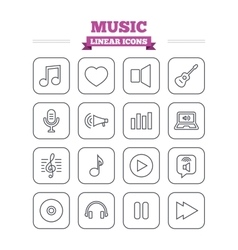 Music linear icons set Thin outline signs vector