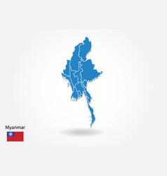 Myanmar map design with 3d style blue myanmar map vector