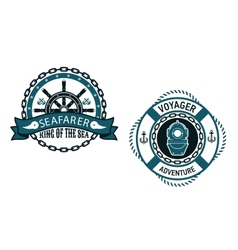 Nautical themed emblems and symbols vector