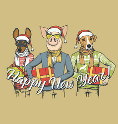 New year concept pig and two dogs vector