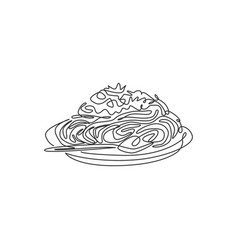 one single line drawing fresh delicious italian vector image