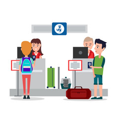 passport control in airport vector image