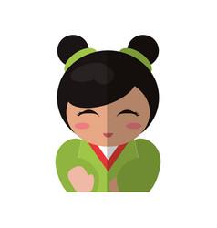 portrait doll kokeshi geisha girl vector image