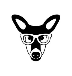 portrait of doe in glasses isolated vector image