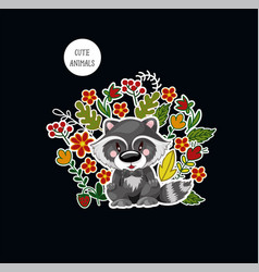 postcard with cute baraccoon and flowers for vector image