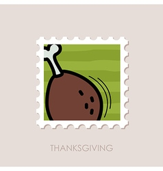 Roasted Chicken thigh stamp Harvest Thanksgiving vector