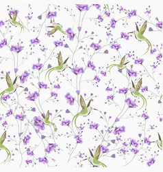 seamless pattern beautiful violet flower and vector image