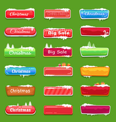 set christmas buttons vector image