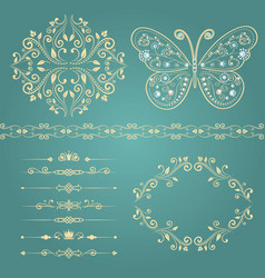 set floral border frame dividers vector image