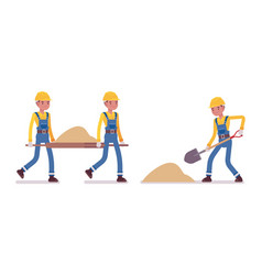 Set of male worker working with sand vector