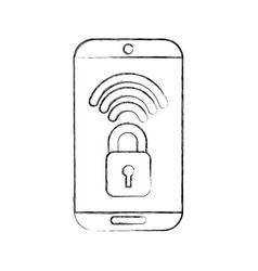 Smartphone with safe secure padlock icon vector