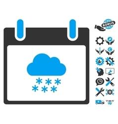Snow Cloud Calendar Day Icon With Bonus vector