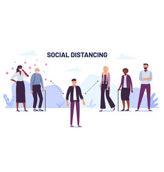 social distancing preventing spread of vector image
