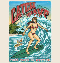 summer surfing vintage colorful poster vector image