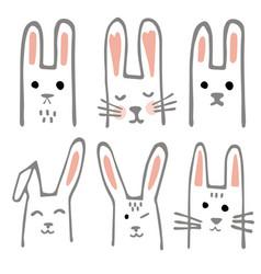 Sweet bunnies set scandinavian design vector