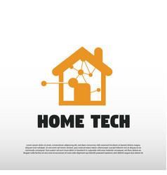 Technology logo with tech home concept future vector