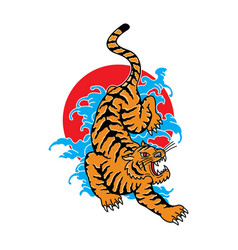 traditional japanese tiger tattoo vector image