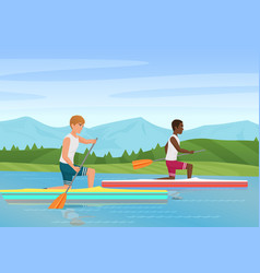 two sportsmen rowing and vector image