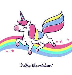 Unicorn flying across rainbow cute happy vector