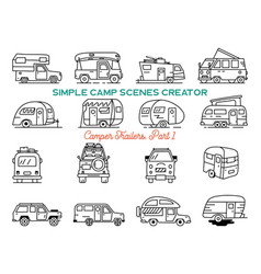 vintage hand drawn camper recreational trailers vector image