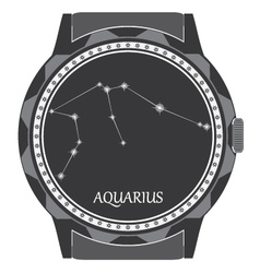 Watch dial with the zodiac sign aquarius vector