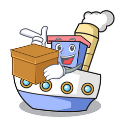 With box ship character cartoon style vector