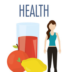 woman with juice orange and lemon nutrition health vector image