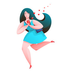 woman with smartphone in love sending message vector image