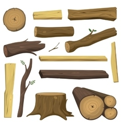 Wooden materials tree logs isolated vector