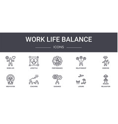 Work life balance concept line icons set contains vector