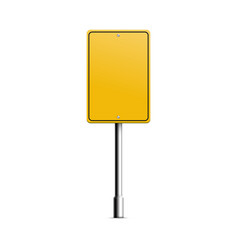 yellow rectangle road sign mockup for street vector image