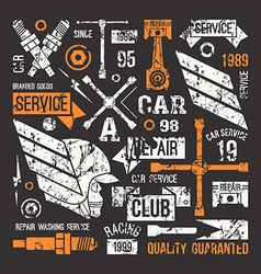 Car service badges in retro style vector image vector image