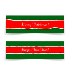 christmas and new year banners in grunge style vector image