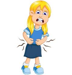 cute little girl cartoon stomach ache vector image