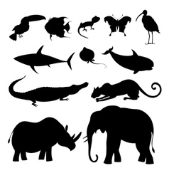 Different silhouettes of animals vector