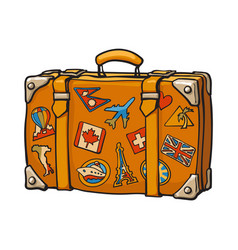 Hand drawn retro style travel suitcase with vector