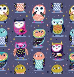 seamless pattern with cartoon owls nursery vector image