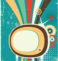 Abstract retro television poster on old background vector image
