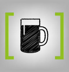 beer glass sign black scribble icon in vector image vector image