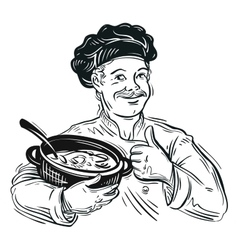 chef and pot vector image