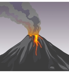 Crater mountain volcano hot natural eruption vector